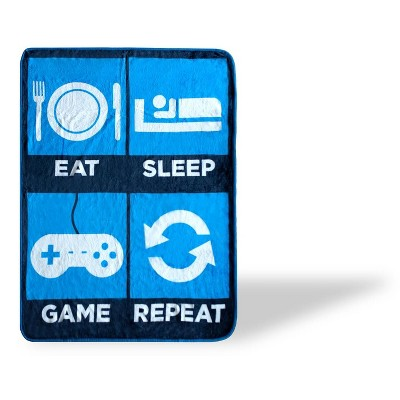 Just Funky Eat Sleep Game Repeat Large Gamer Fleece Throw Blanket | 60 x 45 Inches