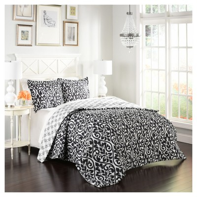 Black & White Scroll Hadley Reversible Comforter Set (Queen)3pc - Marble Hill®