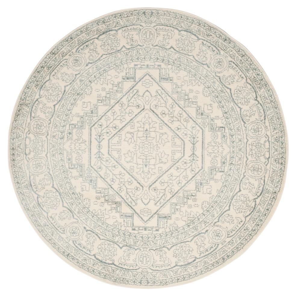 Ivory/Slate (Ivory/Grey) Medallion Loomed Round Area Rug 6' - Safavieh