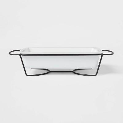 3qt Porcelain Beaded Rim Baking Dish White with Metal Rack - Threshold™