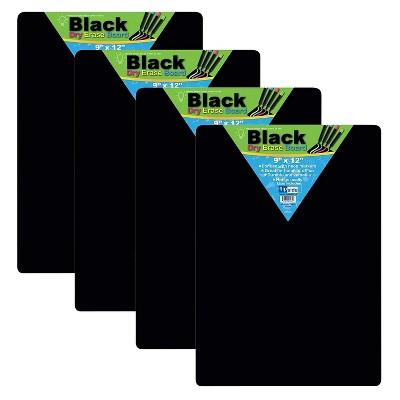 Flipside BLACK DRY ERASE WB 9X12 4PK FLP40065-4