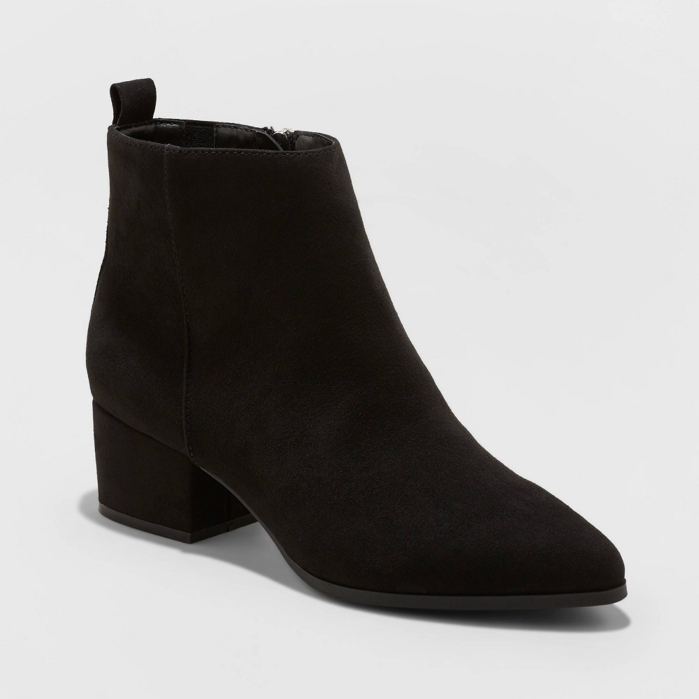 Women's Valerie Wide Width Microsuede City Ankle Bootie - A New Day Black 7W, Size: 7 Wide was $34.99 now $22.74 (35.0% off)