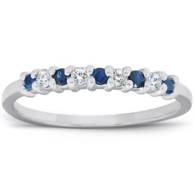 Pompeii3 1/4CT Blue Sapphire & Diamond Wedding Ring 10K White Gold