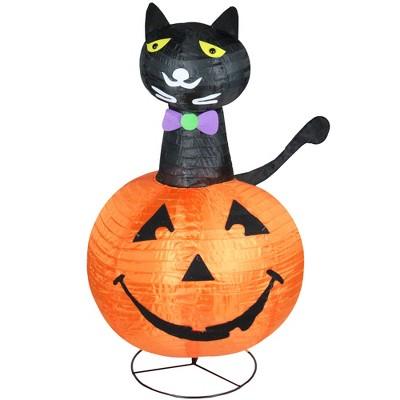 "Northlight 36"" Halloween Prelit Cat on a Pumpkin Outdoor Decoration - Orange/Black"