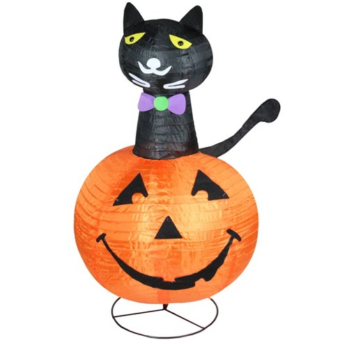 "Northlight 36"" Halloween Prelit Cat on a Pumpkin Outdoor Decoration - Orange/Black - image 1 of 2"