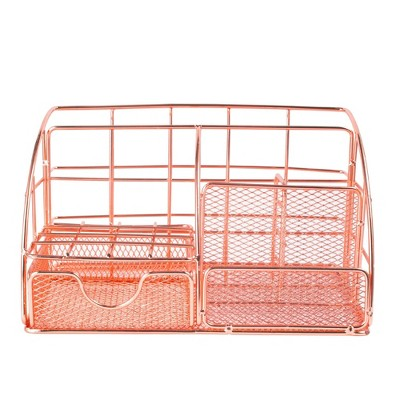 Zodaca Rose Gold Desk Organizer, with Drawer Pen Holder, Metal Mesh Office Accessories for Women