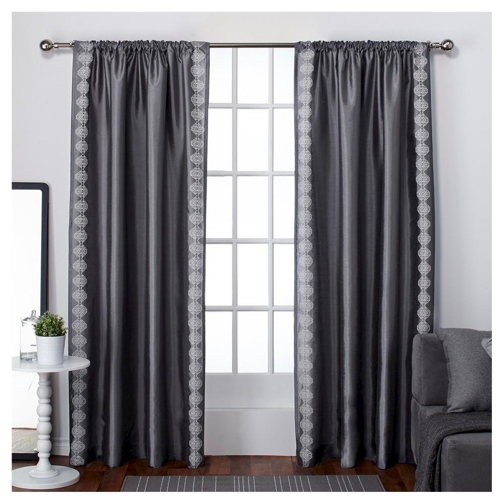 Set of 2 Tiffany Striped Embroidery Rod Pocket Window Curtain Panels Black Pearl (54