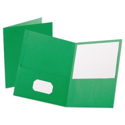 "Oxford Leatherette Two Pocket Portfolio 8 1/2"" x 11"" Green 10/PK 57573"