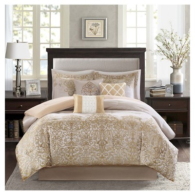 Priscilla 7 Piece Comforter Set- Gold (Queen )
