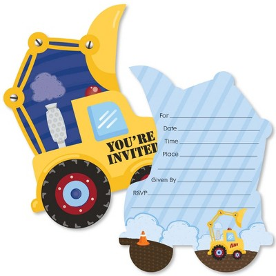 Big Dot of Happiness Construction Truck - Shaped Fill-in Invitations - Baby Shower or Birthday Party Invitation Cards with Envelopes - Set of 12