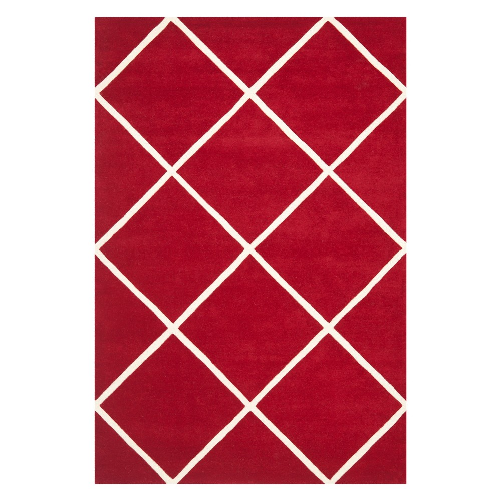 6'X9' Geometric Tufted Area Rug Red/Ivory - Safavieh