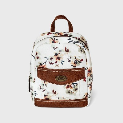 Concept Floral Print Zip Closure Backpack - White