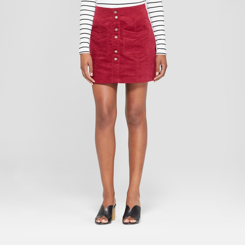Image of Women's Button Detail Corduroy Skirt - 3Hearts (Juniors') Burgundy L, Red