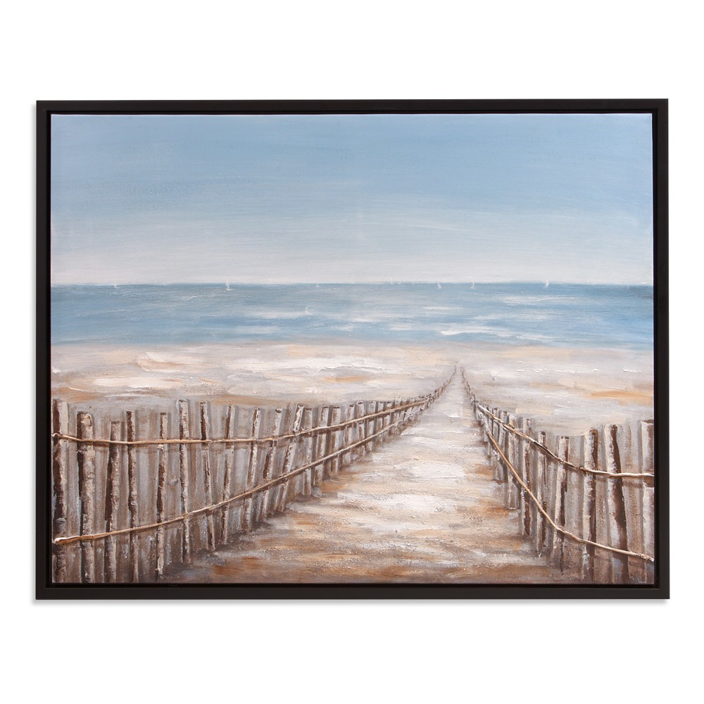 "Image of ""30""""x38"""" Sand Dune Fence Coastal Framed Canvas Art Black - Patton Wall Decor"""
