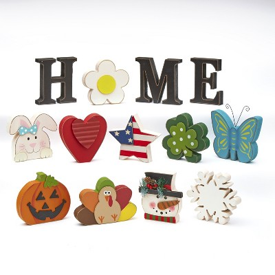 Lakeside 13-Piece Home Tabletop Decoration with Interchangeable Holiday Icons