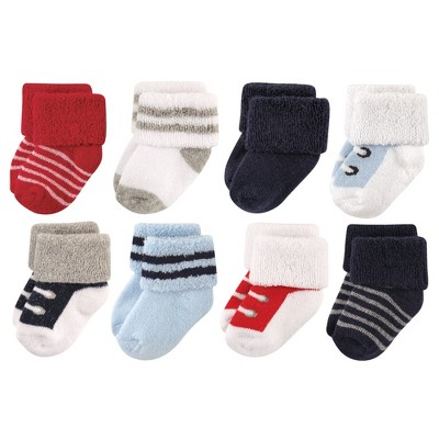 Luvable Friends Baby Boy Newborn and Baby Terry Socks, Red Navy Sneakers