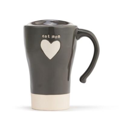 DEMDACO Cat Mom Heart Travel Mug Gray