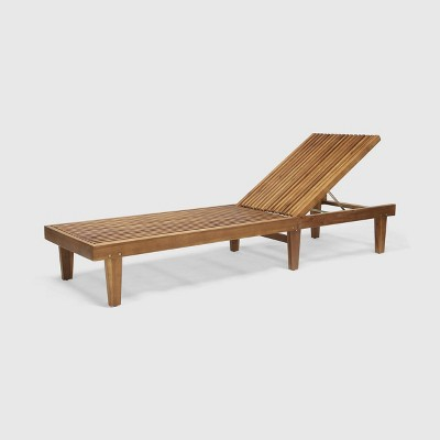 Nadine Wooden Patio Chaise Lounge Chair - Christopher Knight Home