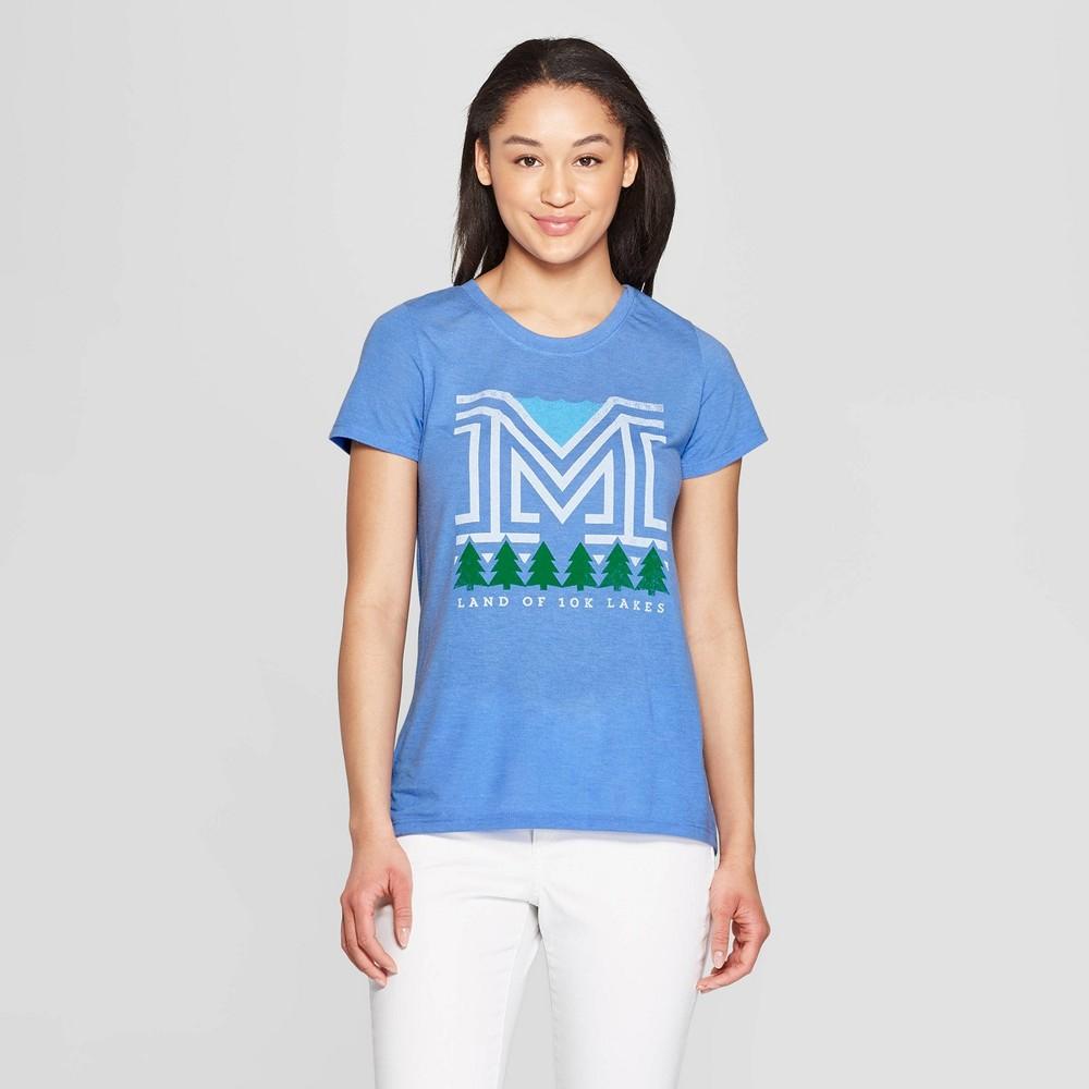 Women's Short Sleeve Scoop Neck Summer Nights T-Shirt - Awake Blue XS