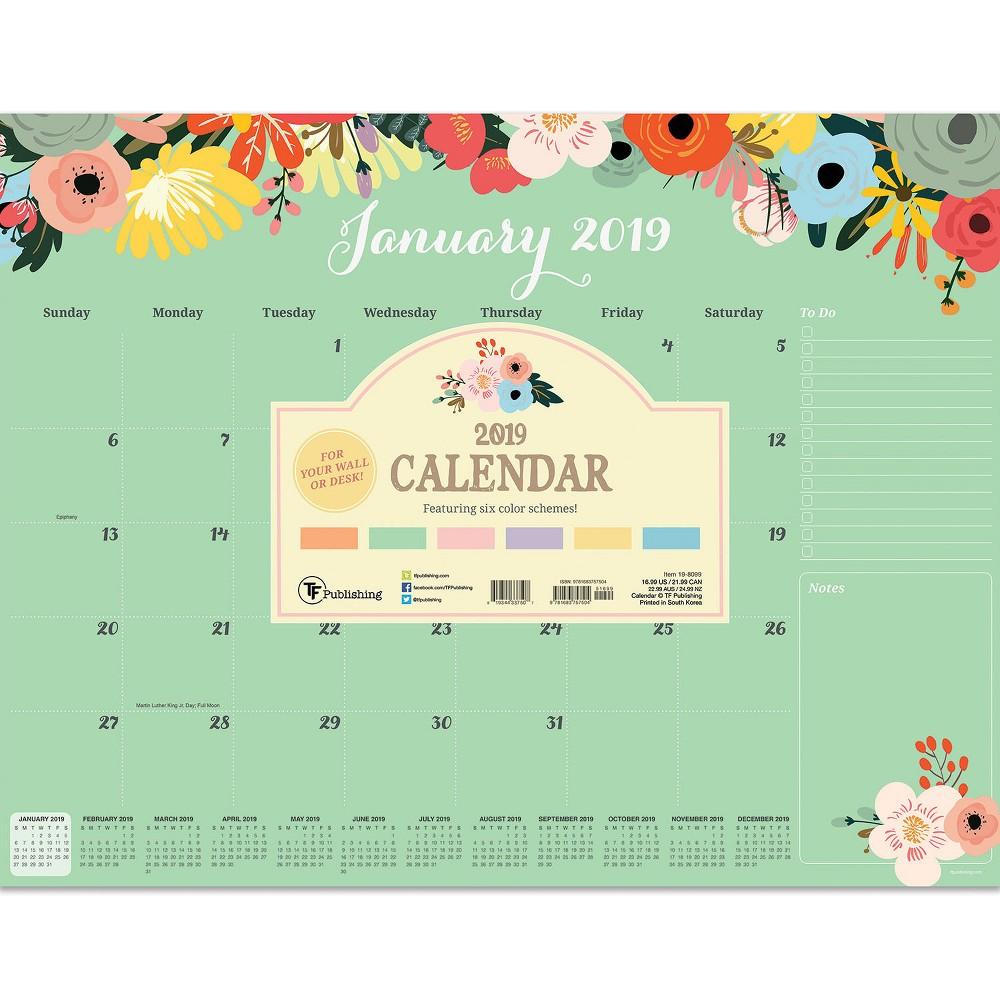 2019 Desktop Calendar Floral - TF Publishing, 2019 Tf Publishing Floral Large Desk Pad Calendar
