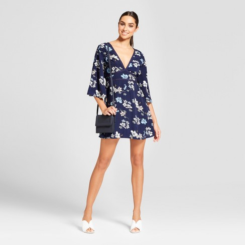 Women's Floral Print 3/4 Sleeve Mini Dress - NEEDLEWORK Navy - image 1 of 2