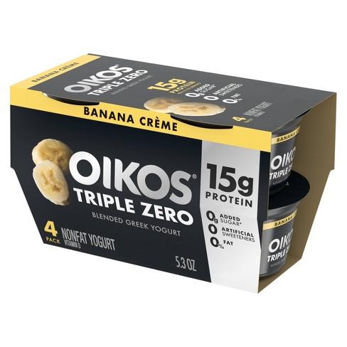 Dannon Oikos Triple Zero Banana Cream Greek Yogurt - 4ct/5.3oz - image 1 of 4