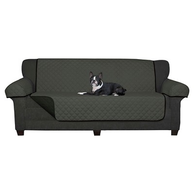 Black Reversible Pet Cover Microfiber Sofa Slipcover - Maytex