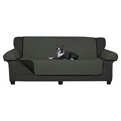 Black Reversible Pet Cover Microfiber Love seat Slipcover - Maytex