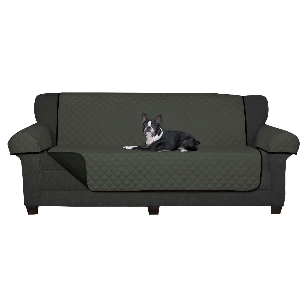 Image of Black Reversible Pet Cover Microfiber Sofa Slipcover - Maytex