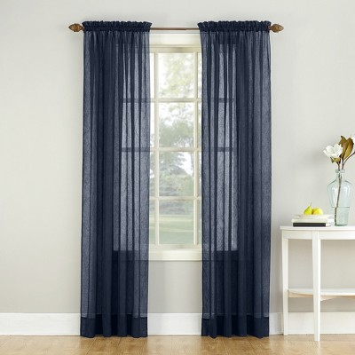 Erica Crushed Sheer Voile Rod Pocket Curtain Panel Navy 51 x63  - No. 918