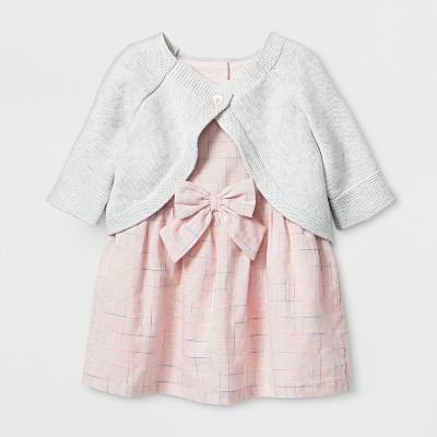 Baby Girls' 2pc Dobby Dress and Sweater Cardigan Set - Cat & Jack™ Pink/White 6-9M