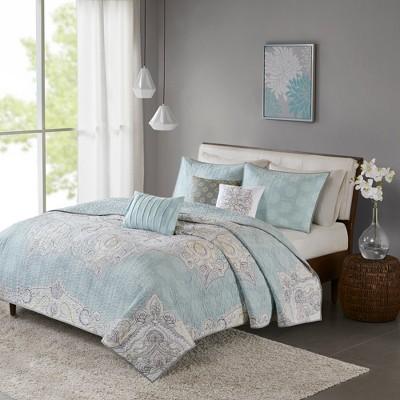 Blue Leslie Reversible Cotton Sateen Coverlet Set 6pc