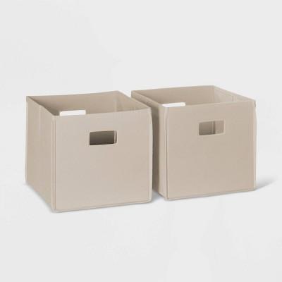 2pc Folding Storage Bin Set Taupe - RiverRidge