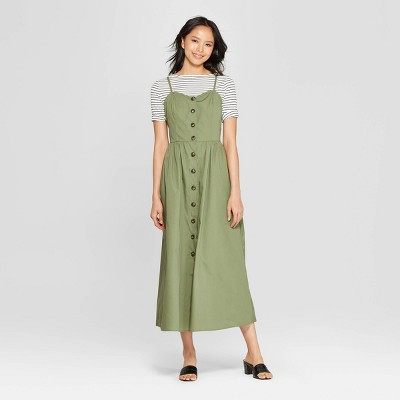 Women's Sleeveless V Neck Button Down Maxi Dress   Who What Wear™ Green by Who What Wear