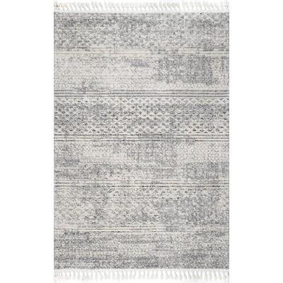 nuLOOM Lira Textured Geometric Tassel Area Rug
