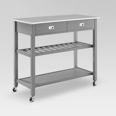 Chloe Stainless Steel Top Kitchen Island Cart Gray Crosley Target