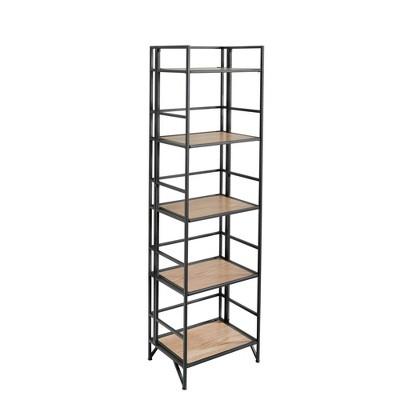 "63"" Metal/Wood 5 Tier Folding Shelf Unit Black - Sagebrook Home"