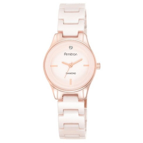 Women's Armitron® Diamond-Accented Ceramic Bracelet Watch - Rose Gold/Light Pink - image 1 of 1