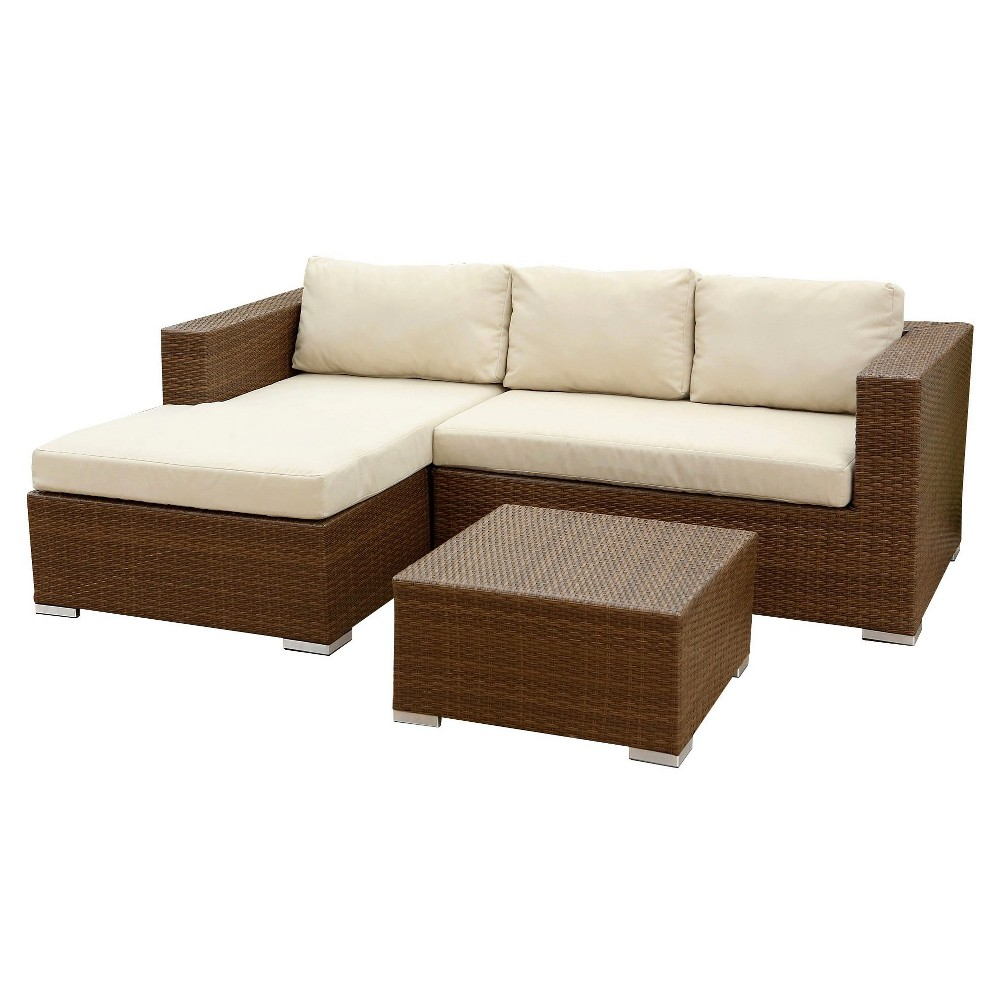 Image of 2pc Manchester Outdoor Wicker Sectional & Table Set Brown - Abbyson Living
