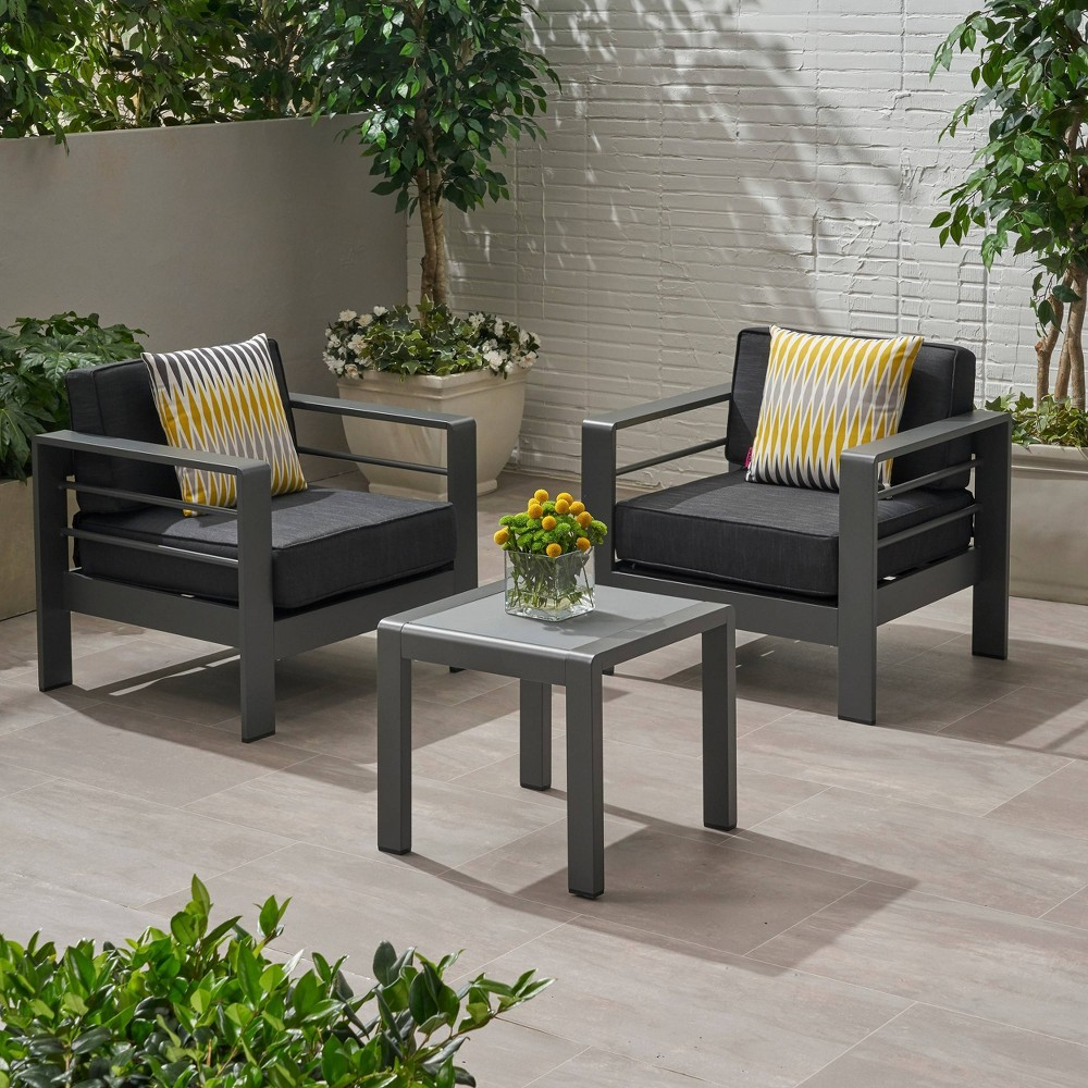 Image of 3pc Cape Coral Aluminum Club Chair and Table Set Gray - Christopher Knight Home