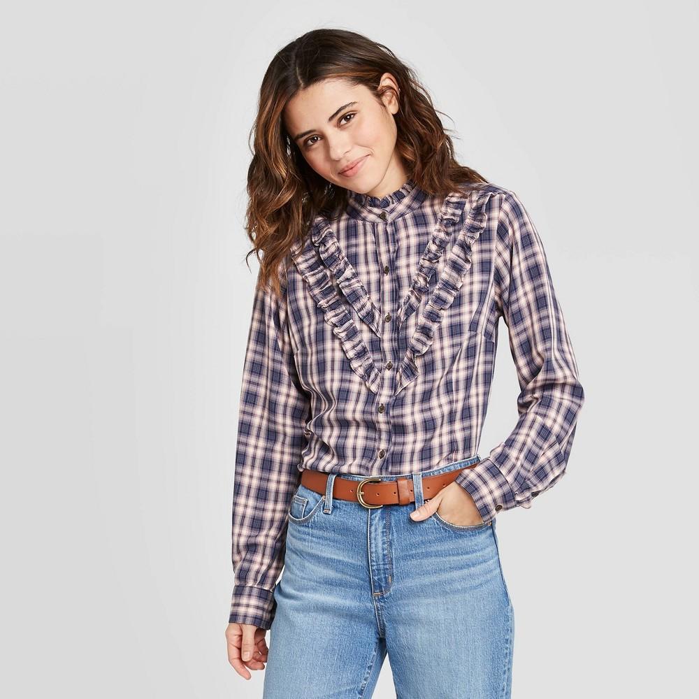 Victorian Blouses, Tops, Shirts, Sweaters Women39s Plaid Ruffle Long Sleeve Henley Button-Down Shirt - Universal Thread8482 $22.99 AT vintagedancer.com