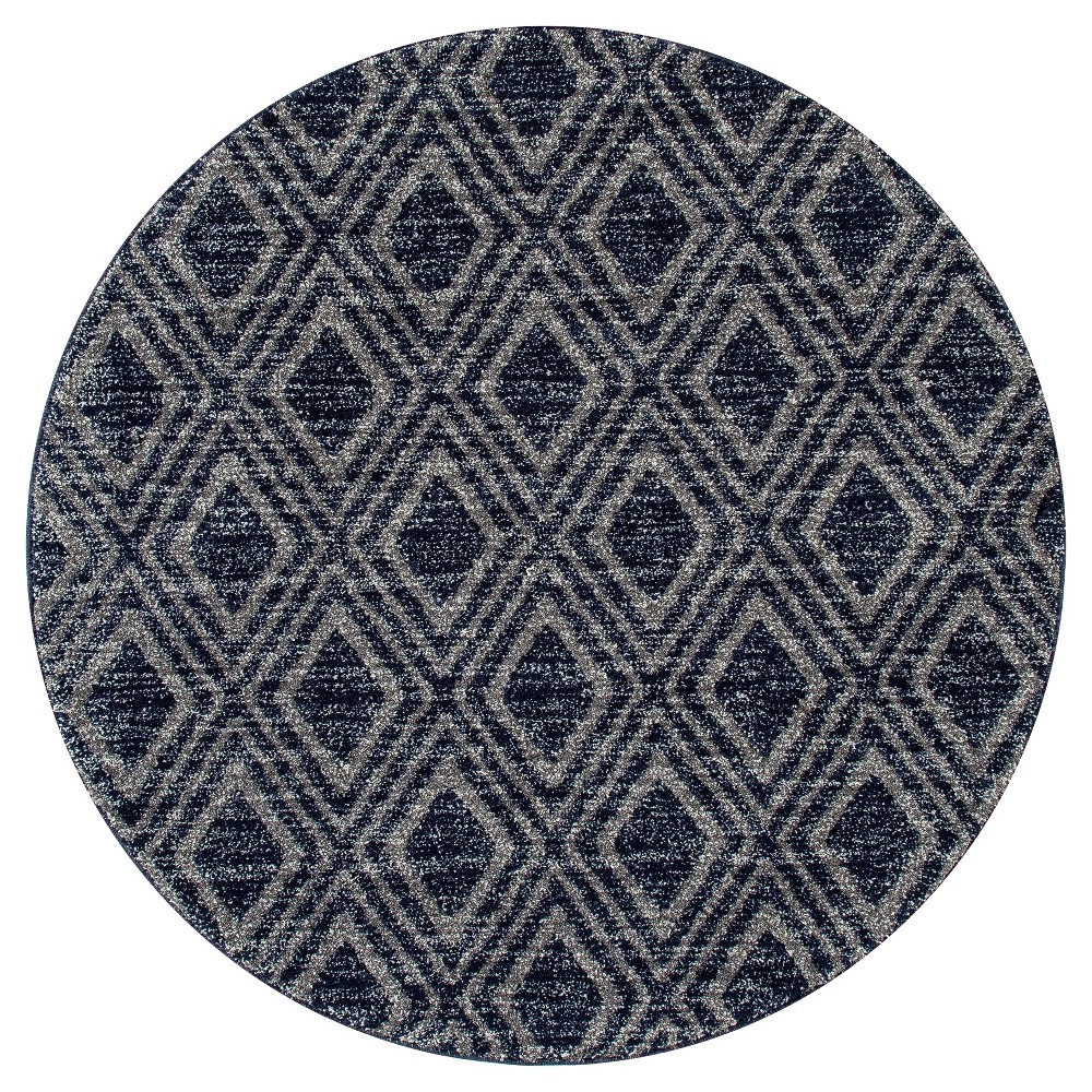 Gray Abstract Woven Round Area Rug - (5') - Art Carpet