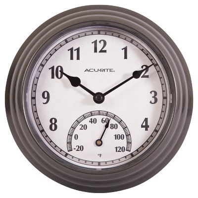 "8.5"" Outdoor / Indoor Wall Clock with Thermometer - Gunmetal Gray Finish  - Acurite"