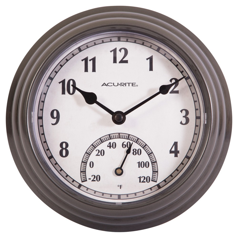 Image of 8.5 Outdoor / Indoor Wall Clock with Thermometer - Gunmetal Gray Finish - Acurite, Silver