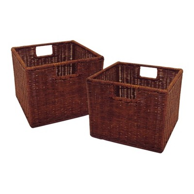 Set of 2 Leo , Wired Basket, Small - Antique Walnut - Winsome