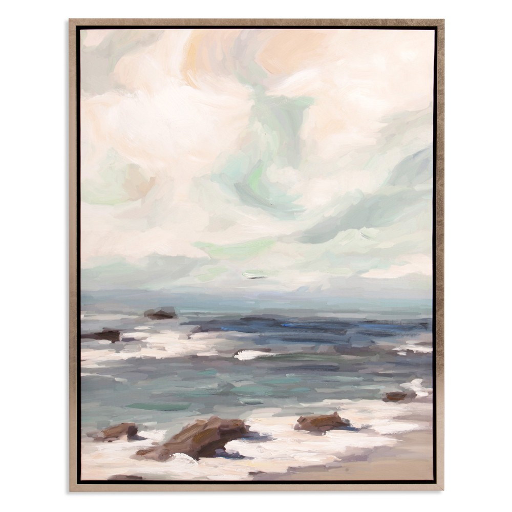 "Image of ""30""""x38"""" Stormy Shore Coastal Framed Canvas Art Champagne - Patton Wall Decor, Yellow"""