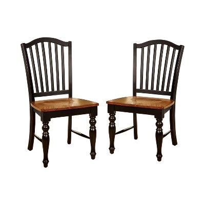 Set of 2 JamesonCountry Style Wooden Chair Black/Oak - HOMES: Inside + Out