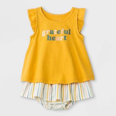 Grayson Mini Baby Girls' 2pc Grateful Heart Top & Bottom Set - Yellow 9M