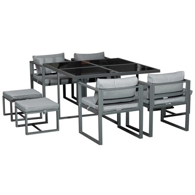 Outsunny 9 Piece Aluminum Framed Outdoor Patio Dining Set Furniture Set with 4 Cushioned Chairs, 4 Ottomans and Glass Table