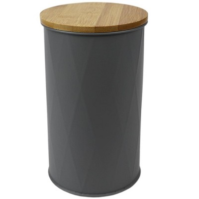 Home Basics Tin Canister with Bamboo Lid, Grey
